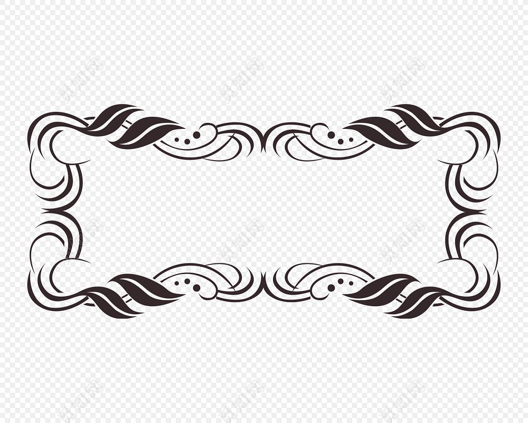 简约黑白花纹边框矢量元素