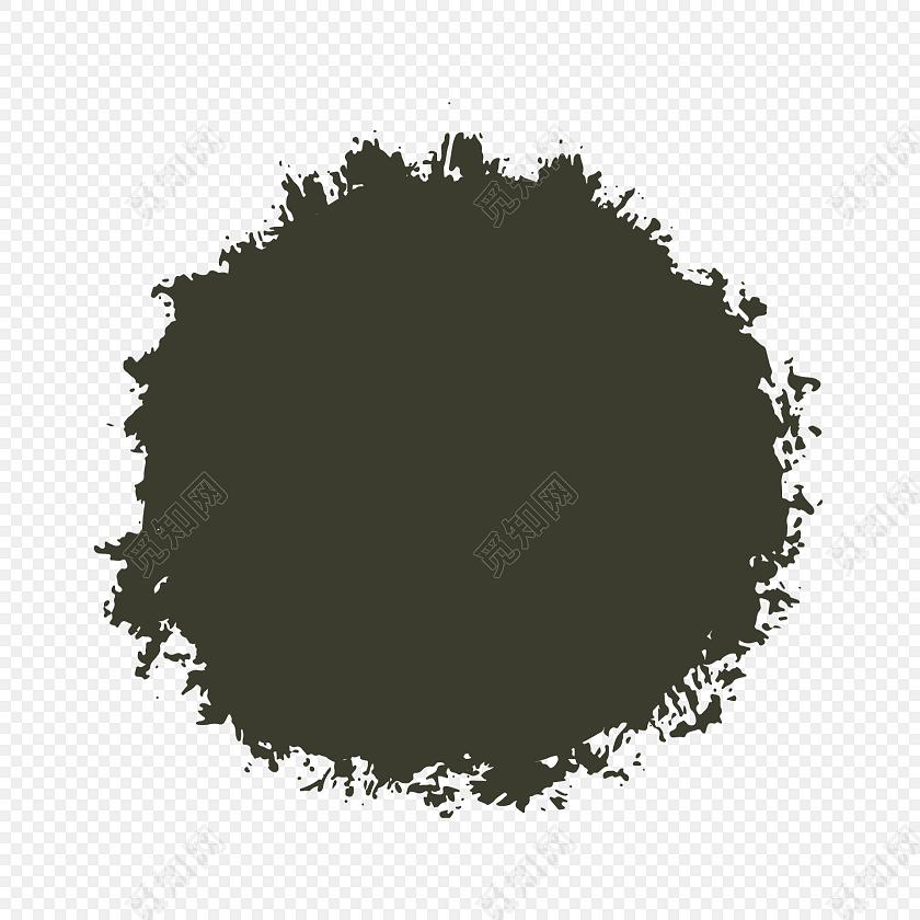 黑色水墨圆形笔触素材