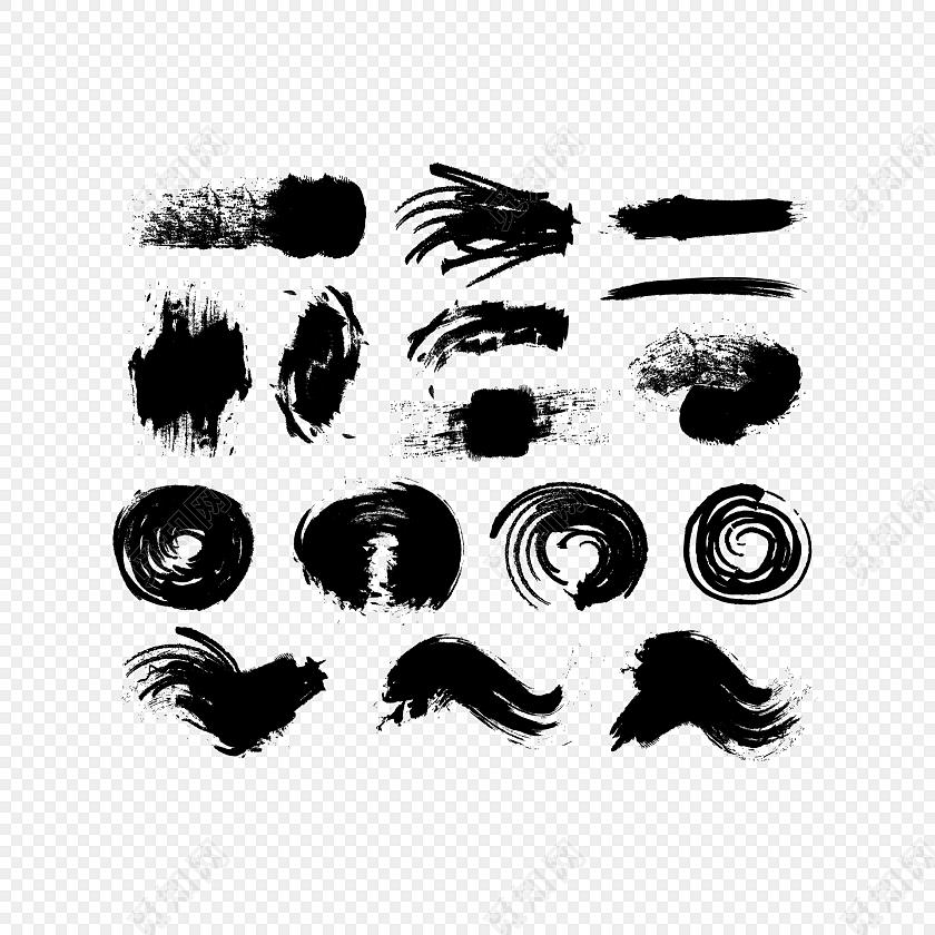 ai 免费下载ai png素材黑色水墨笔刷系列素材标签:水墨 免抠素材