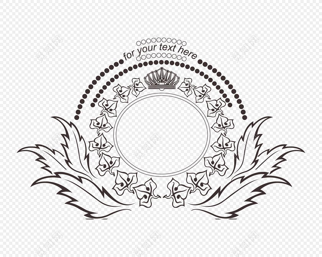 黑白花纹勋章边框装饰矢量元素