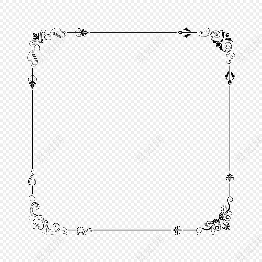 简约黑白花纹边框矢量元素免费下载_png素材_觅知网