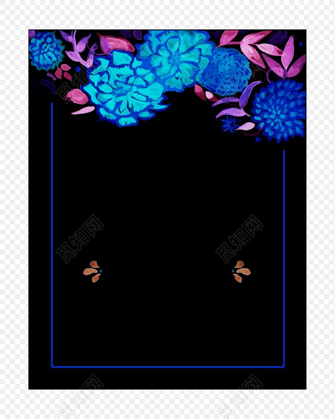 蓝色花朵装饰边框黑色背景矢量元素