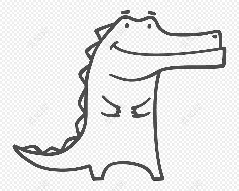 手绘卡通简笔画鳄鱼矢量元素