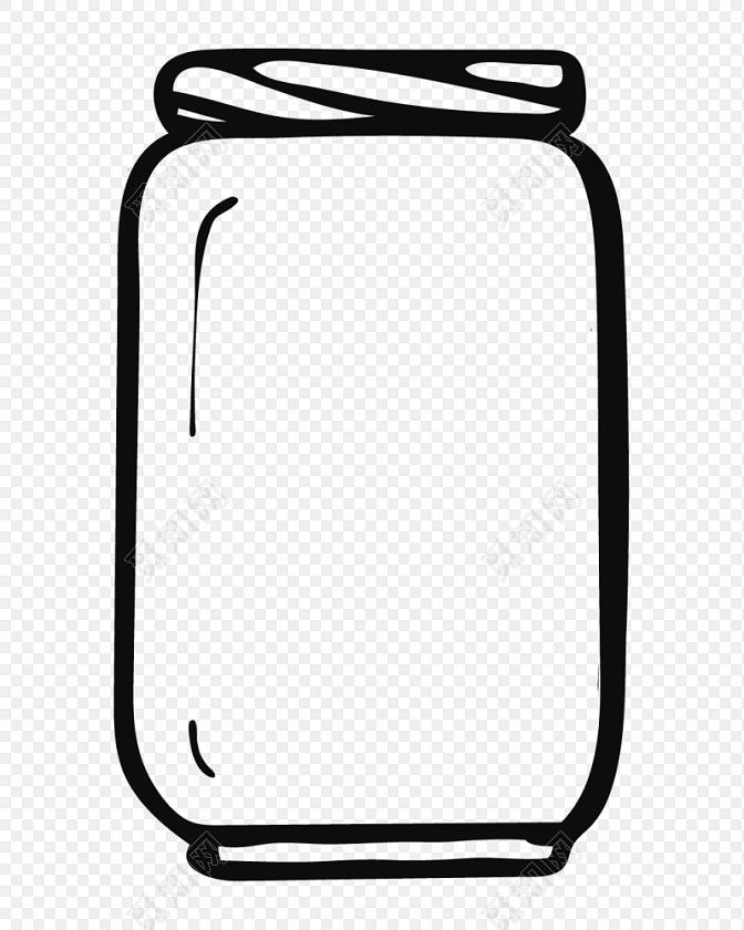 黑白卡通瓶子简笔画矢量素材