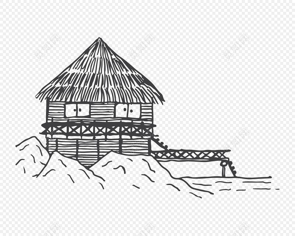 黑白卡通风景简笔画矢量素材