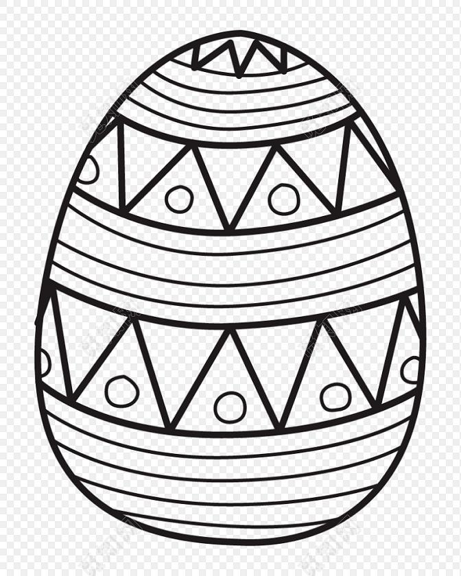 黑白卡通彩蛋简笔画矢量素材