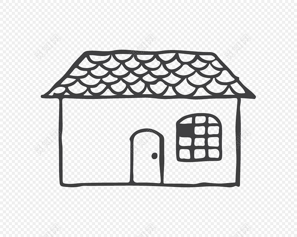 创意房子卡通简笔画矢量素材