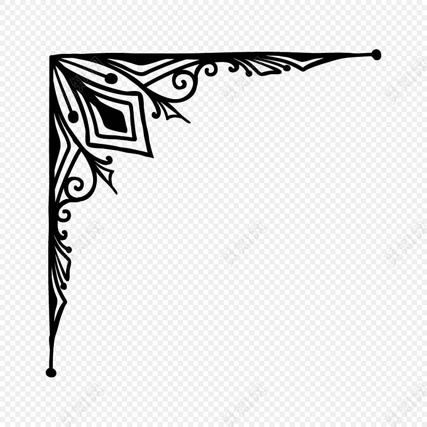 黑白卡通边框简笔画矢量素材免费下载 PNG素材 觅知网图片