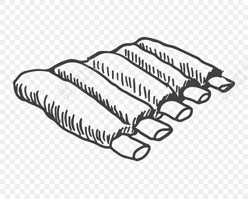黑白卡通牛排简笔画矢量素材图片