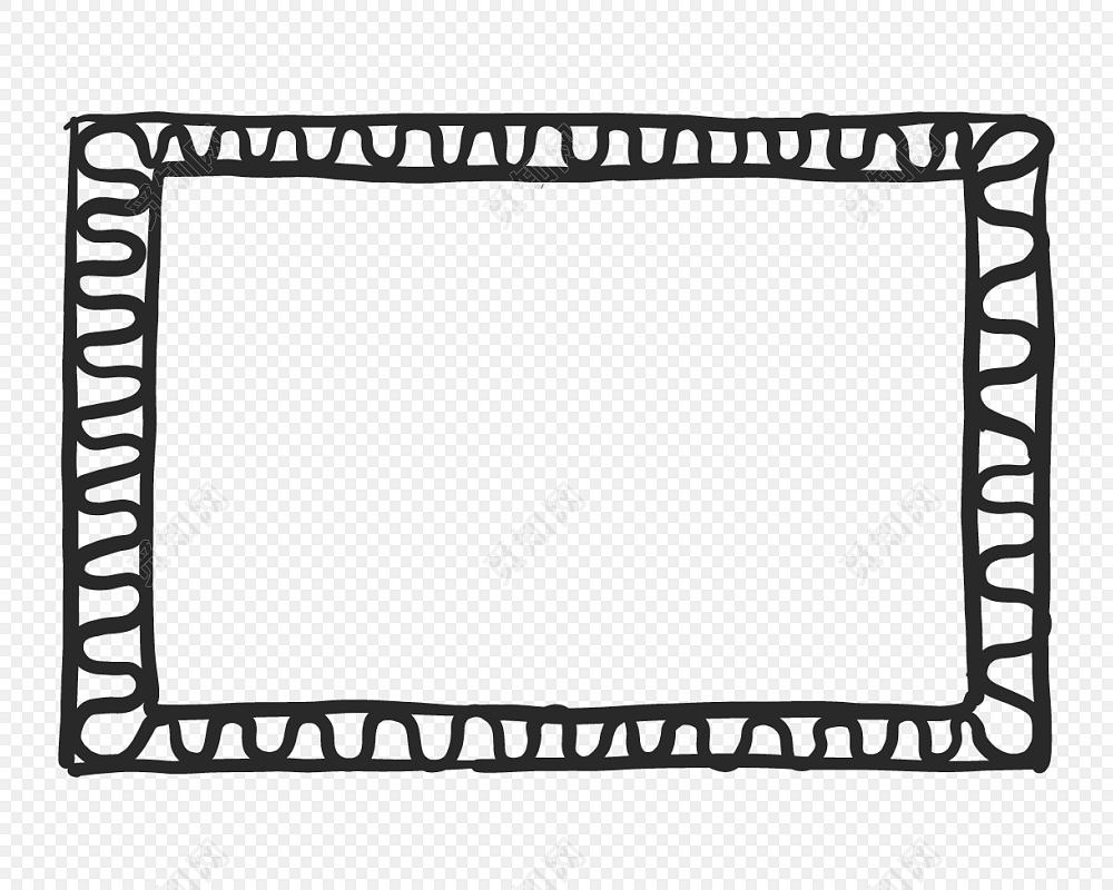 黑白卡通边框简笔画矢量素材免费下载 觅知网