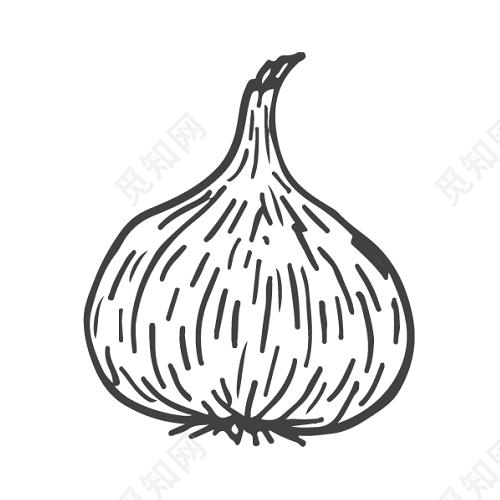 黑白卡通大蒜简笔画矢量素材免费下载 觅知网