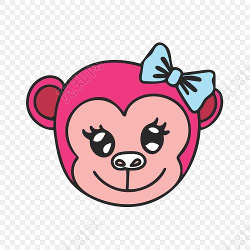 红色简约猴头矢量素材