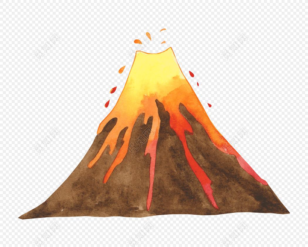 彩色卡通手绘创意火山矢量图片