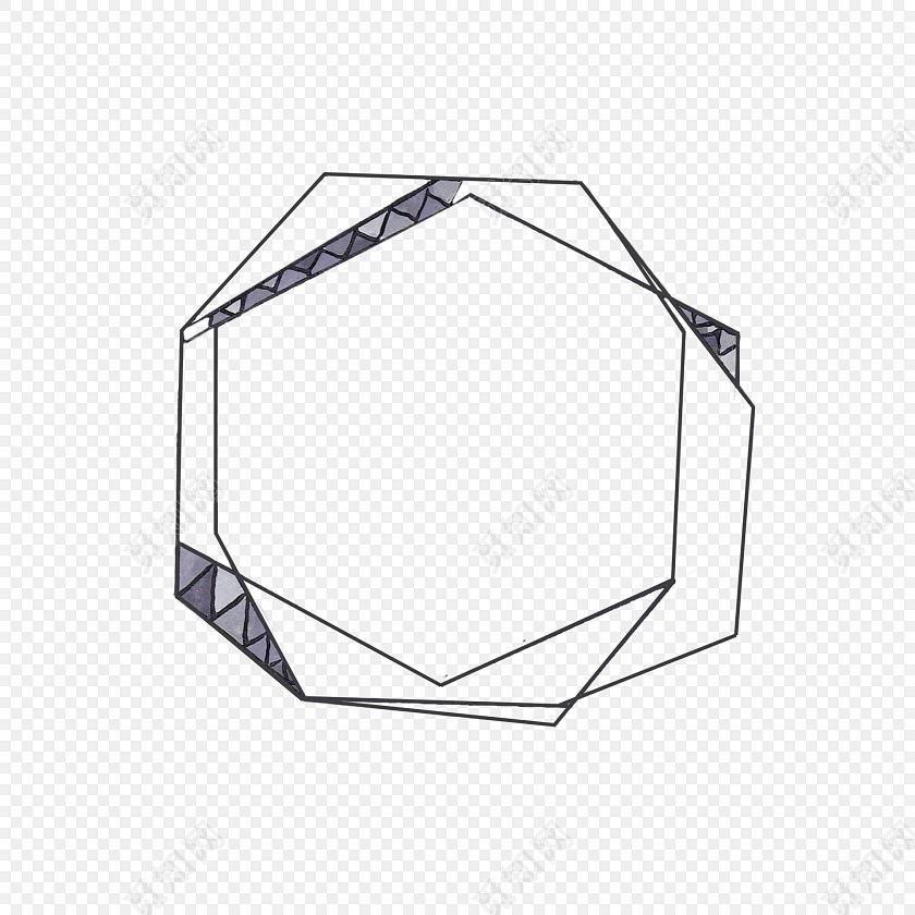 黑白简约线条几何边框免抠素材