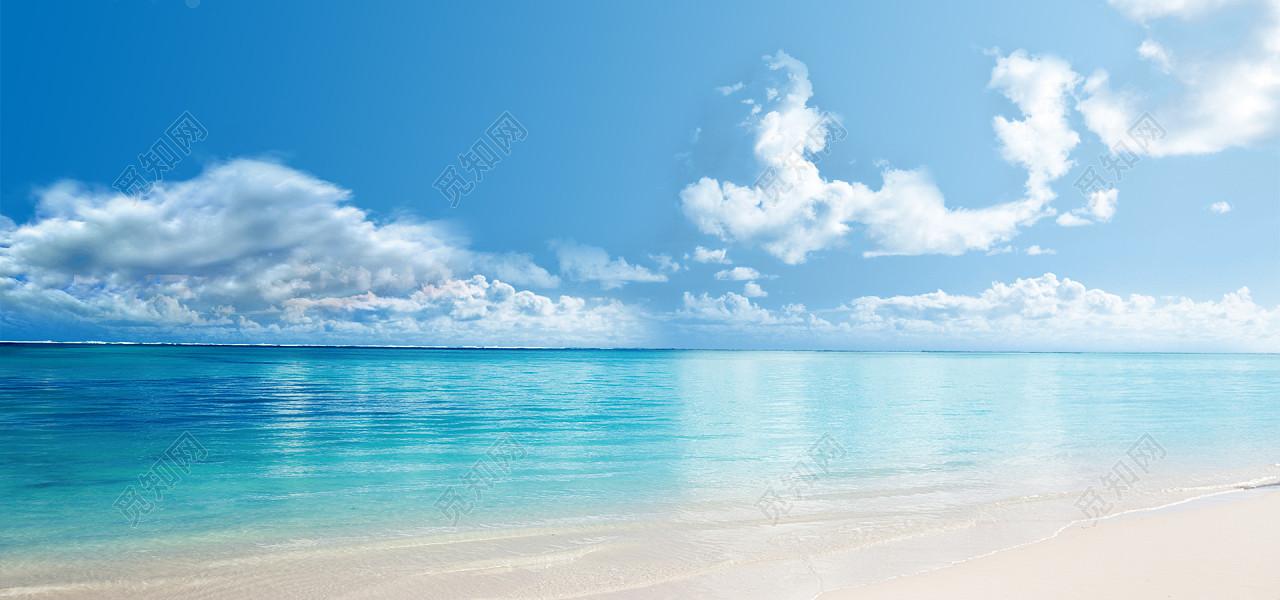 水波蓝色大海清爽风景海报沙滩