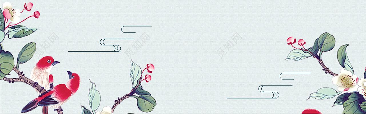 绿色小清新花鸟手绘画中国风古风古典背景