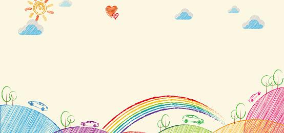 簡約手繪可愛卡通彩虹背景