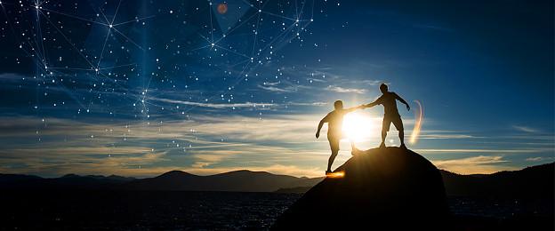 背景勵志堅持夢想攀登高峰星空文化科技宣傳