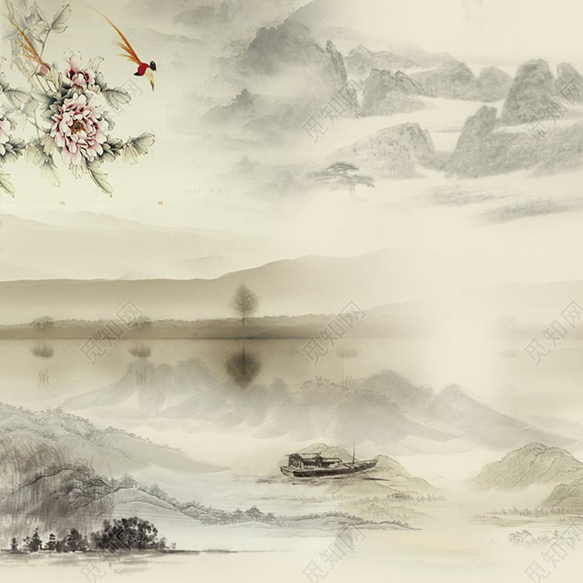 中国风古风水墨山水背景