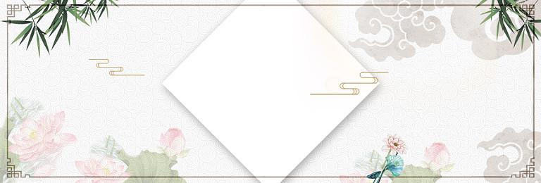 簡約荷花山水邊框中國風古風純色banner棕色插畫
