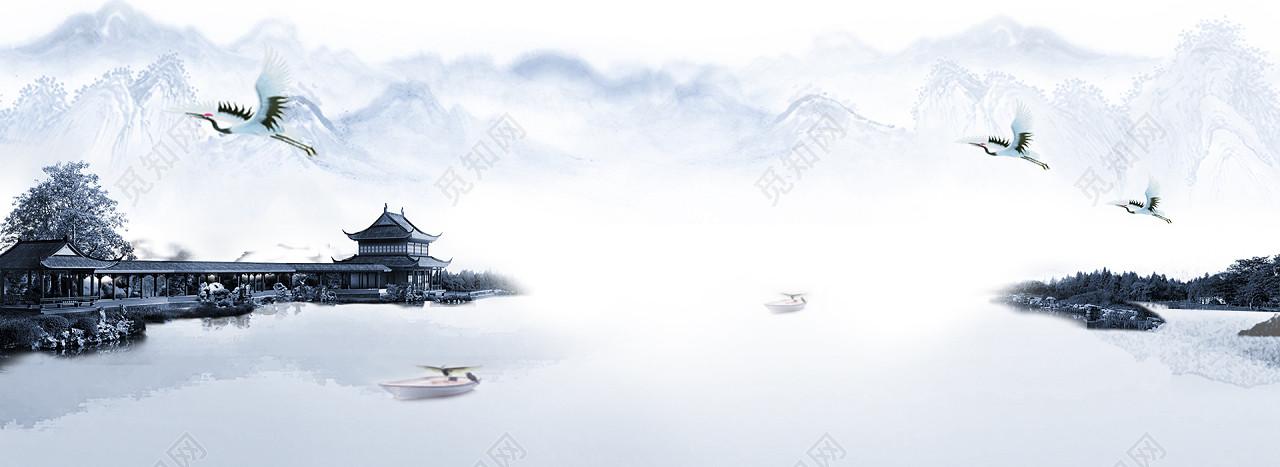 中国风古风山水画海报banner风景水彩