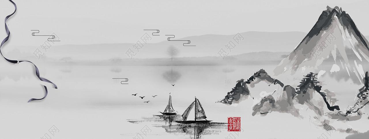 免费下载jpg免费下载psd 背景素材中国风古风水墨绘画古典江南灰色