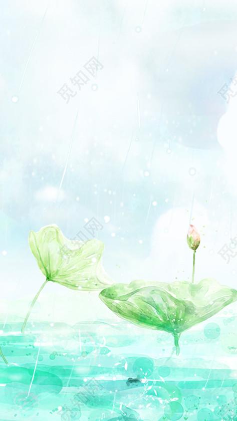原创非商用授权 下载jpg下载psd 背景素材 小清新简约蓝绿色抽象海洋
