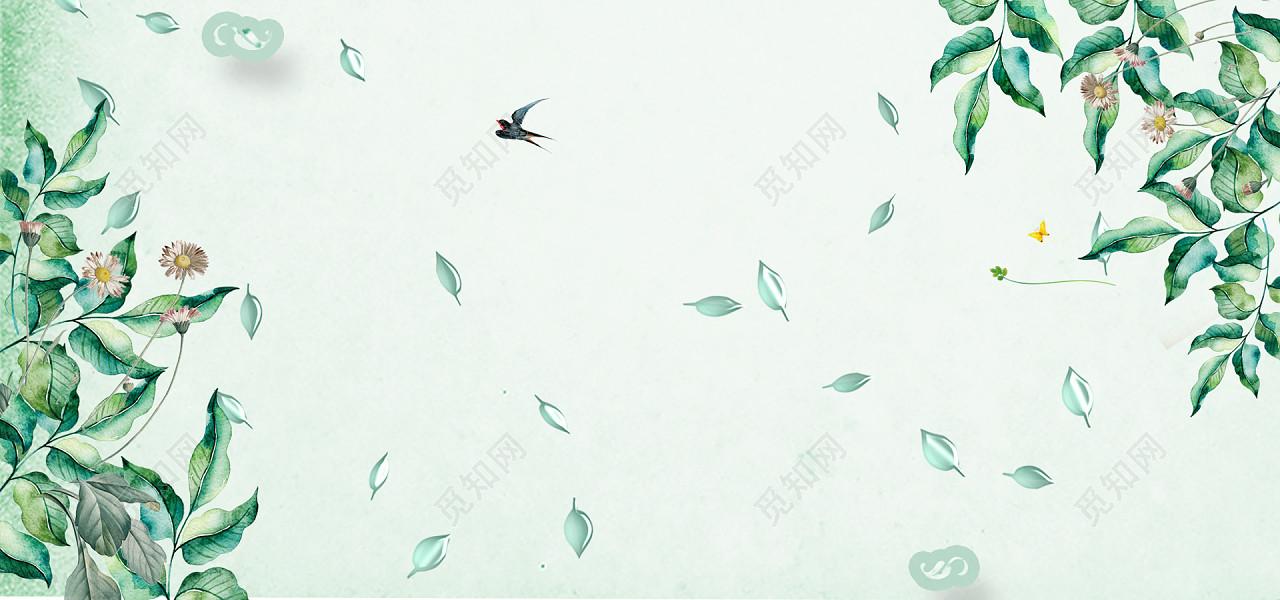 绿色植物春天手绘文艺纹理小清新绿色花瓣绿banner