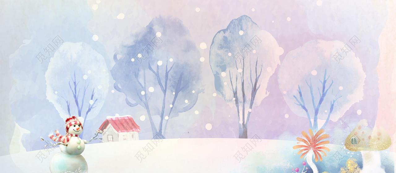 雪花涂料墨痕雪人植物彩色背景图