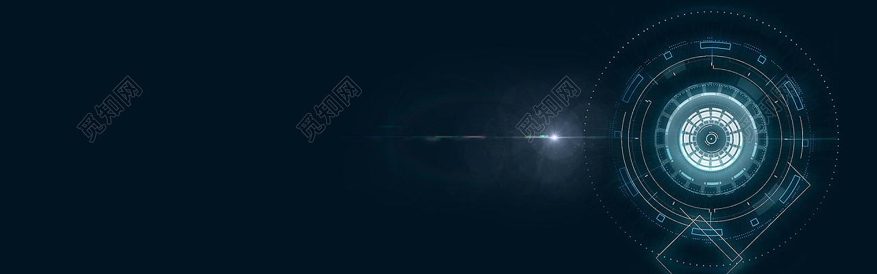 黑色炫酷商务科技banner科技圆背景