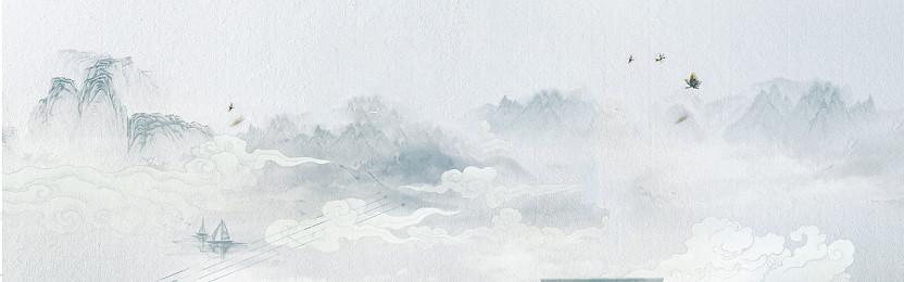 灰色中國風簡約水墨古風山水背景