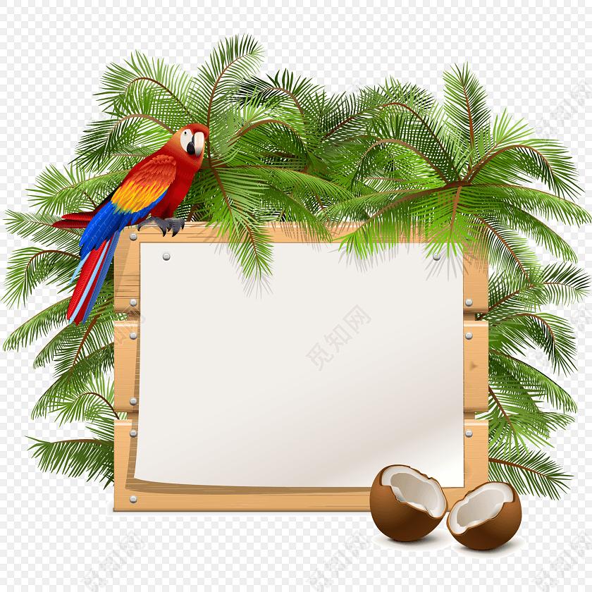 椰树鹦鹉画板彩绘矢量图素材