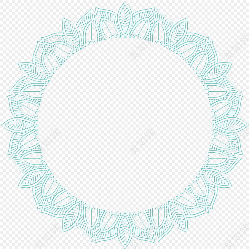 蓝色花纹圆环彩绘矢量图素材