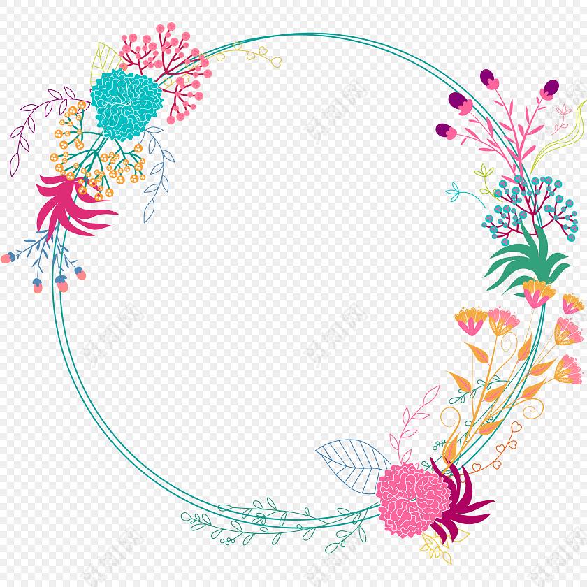 花环边框彩绘矢量图素材
