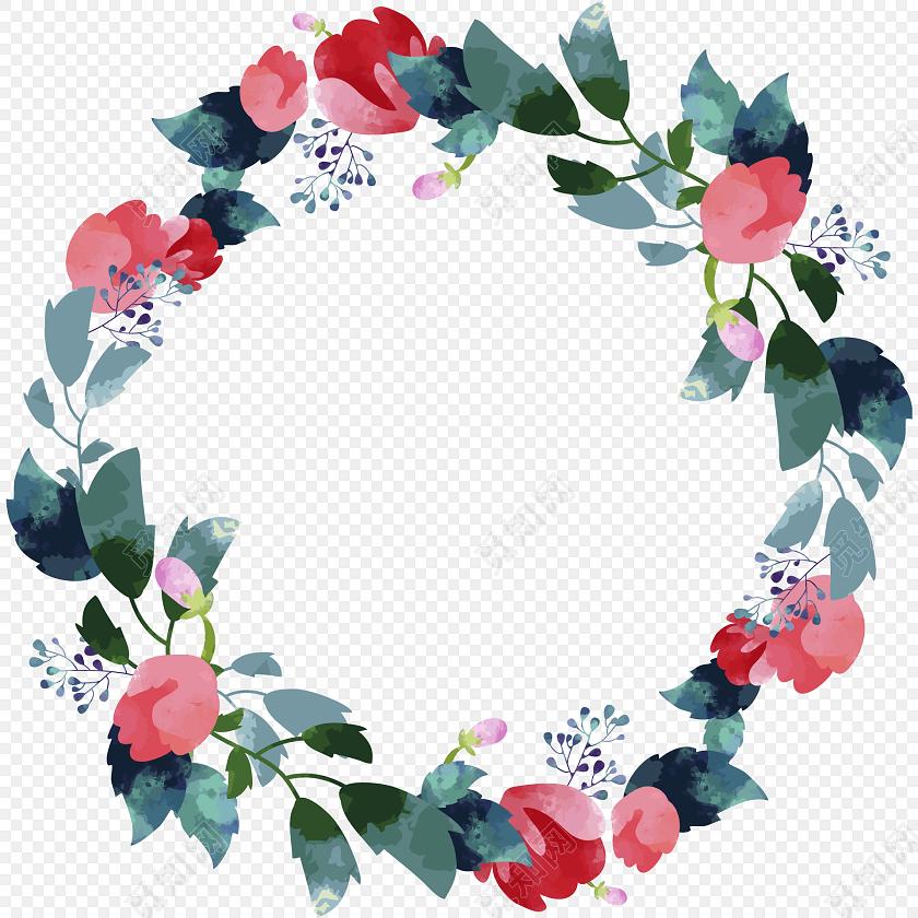 绿叶花环边框彩绘矢量图素材