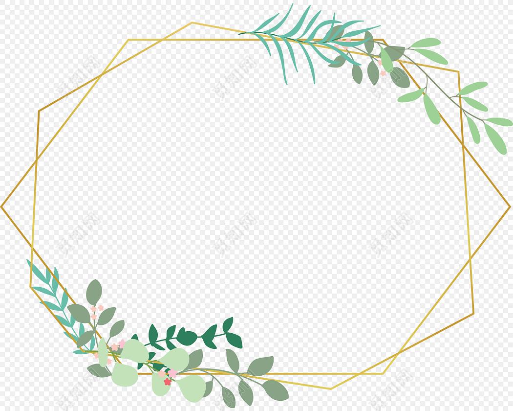 绿叶花边边框彩绘矢量图素材