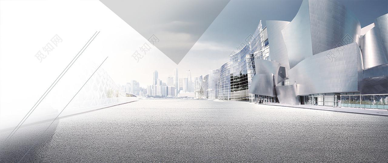 灰色大气商务城市建筑路面海报背景图片