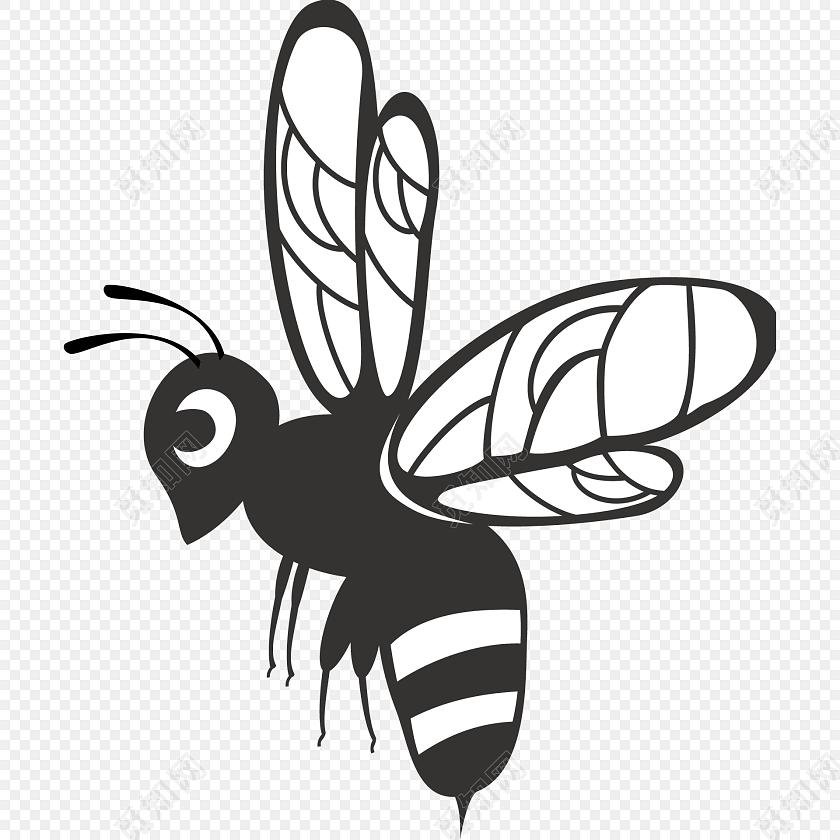 蜜蜂黑色线条装饰彩绘矢量图素材
