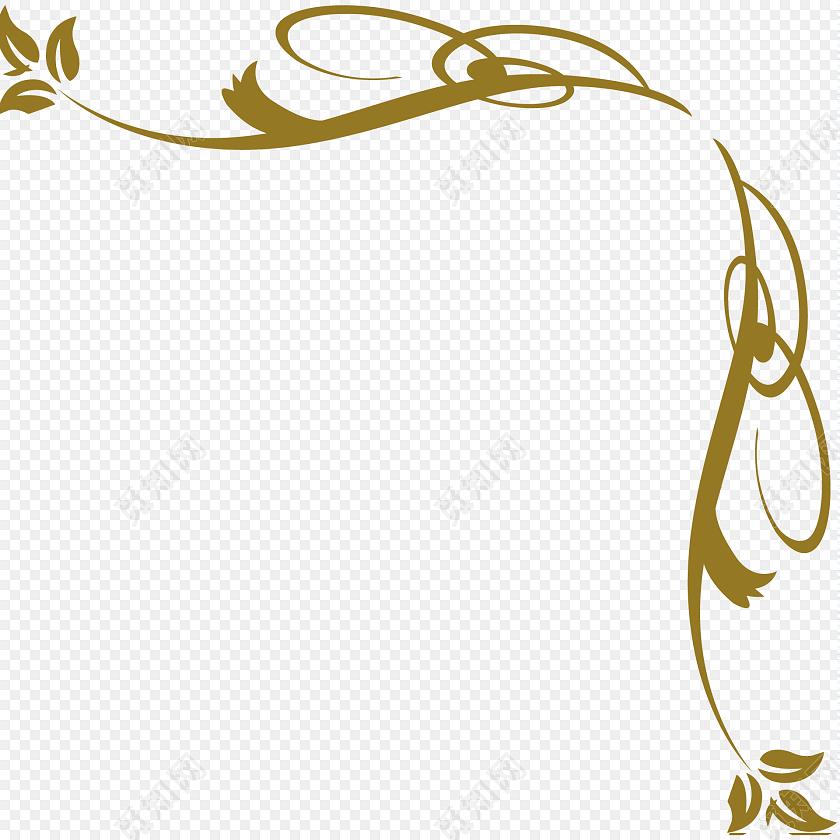 金色花边花纹装饰矢量图素材