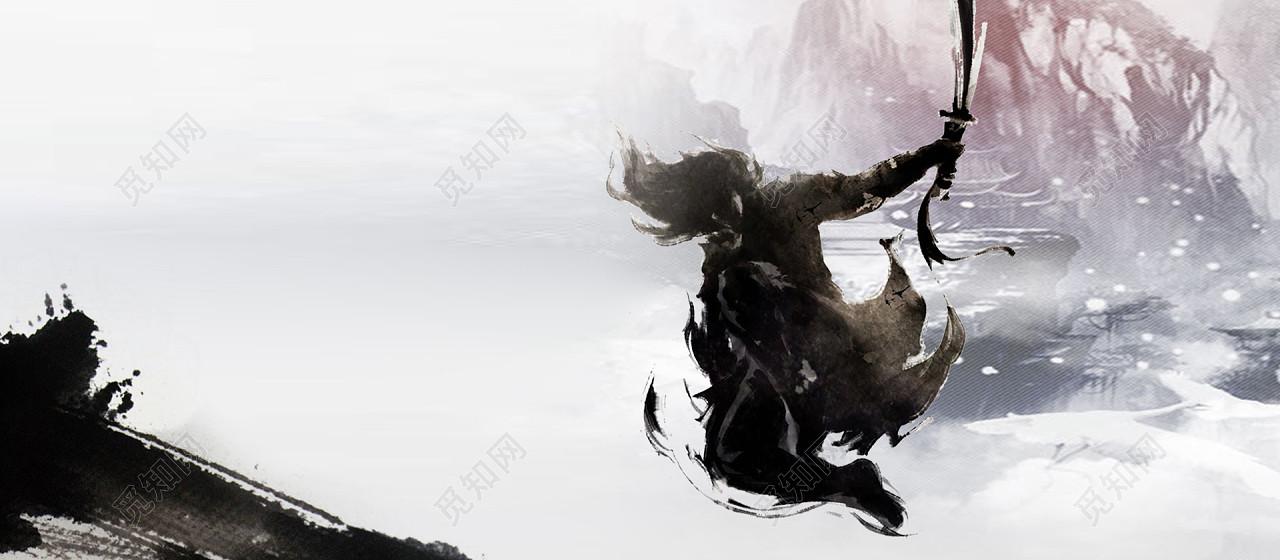 下载jpg下载psd 背景素材 淡彩色水墨武侠人物淘宝海报手玩背景标签