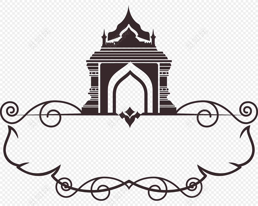 免费下载eps png素材城堡黑色线条花纹装饰矢量图素材标签:花边边框