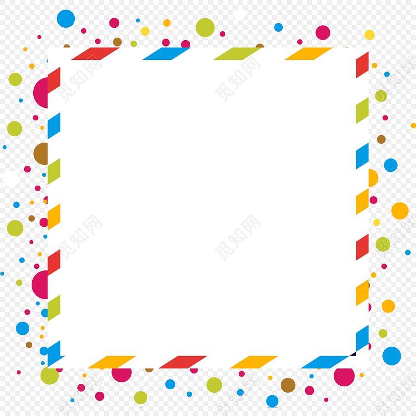 彩色简约图形花边边框图片矢量素材