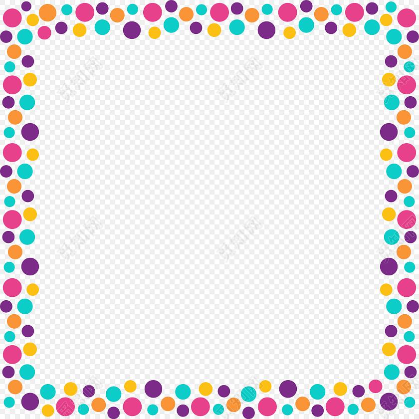 彩色简约圆点花边边框图片下载素材