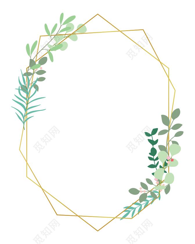 绿色简约枝条花边边框矢量素材