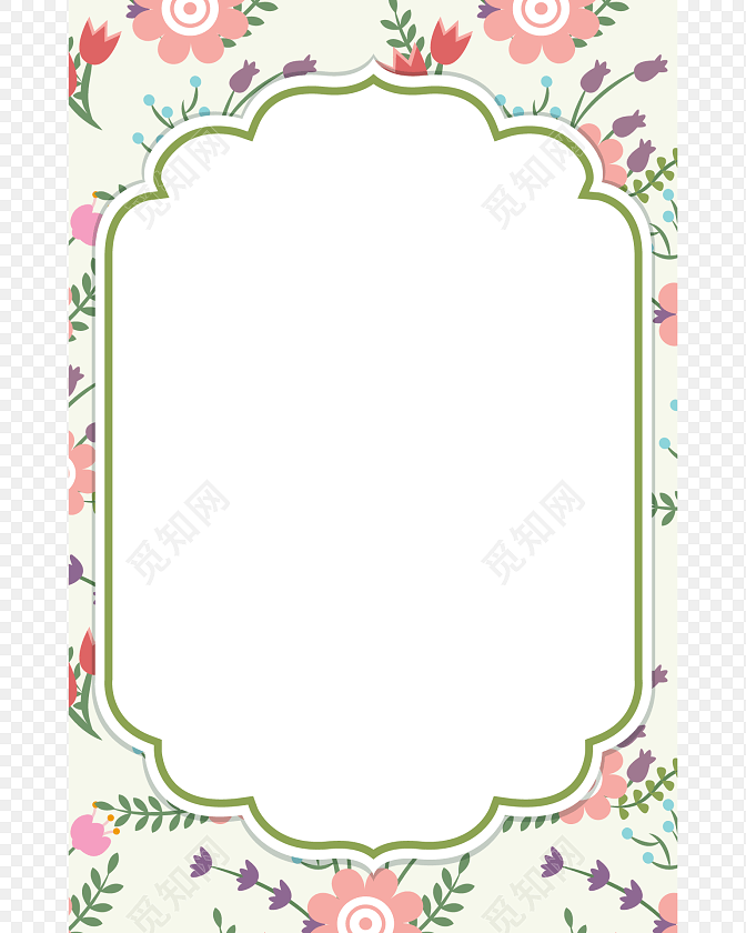 粉色简约花朵小清新花边边框图片下载素材