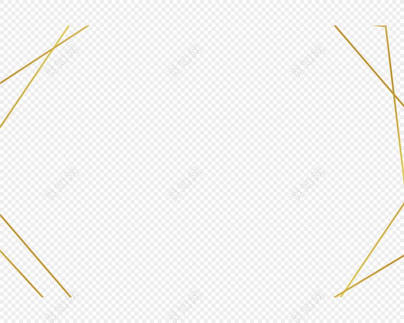 金色简约线条边框矢量素材