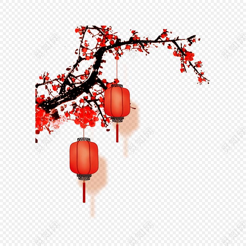 梅花和灯笼免费下载_png素材_觅知网