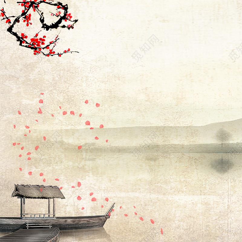 质感古风淘宝主图标签:中国风 复古底纹 质感纹理 水墨背景 纯色质感