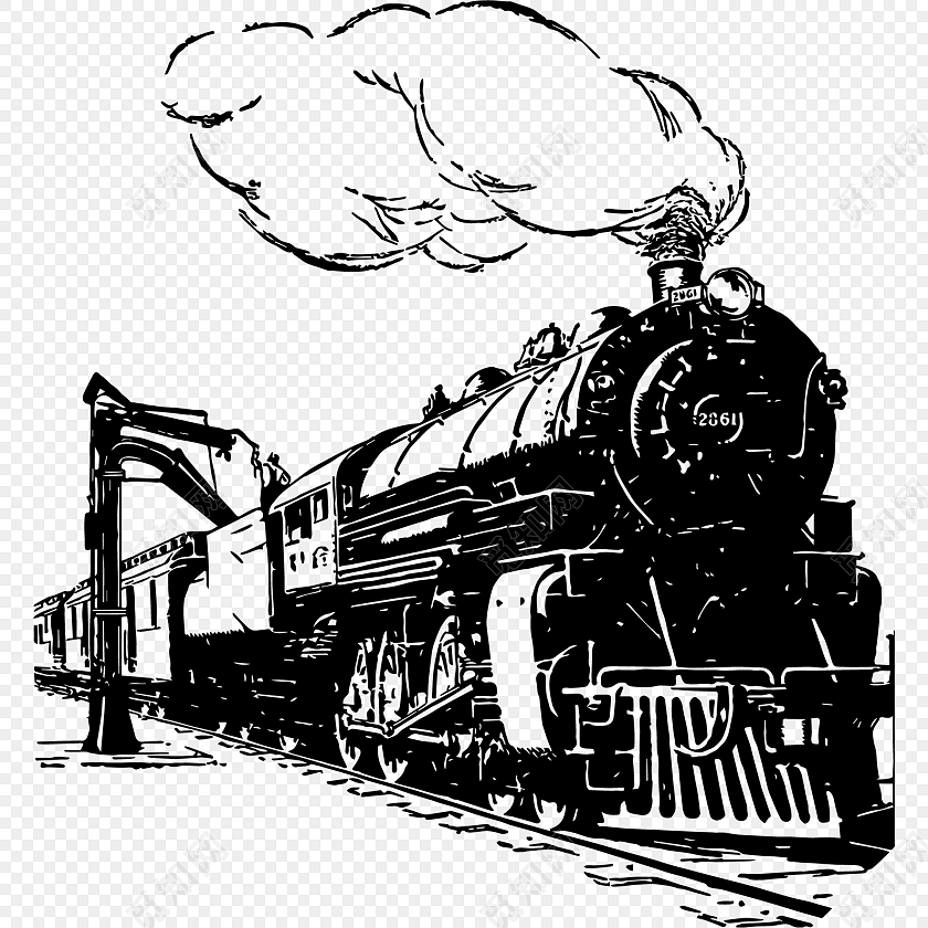 火车手绘钢笔画素材