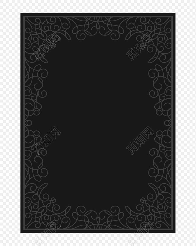黑色手绘边框设计矢量图片